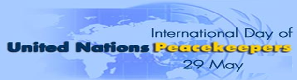 PRESS RELEASE: INTERNATIONAL DAY OF UN PEACEKEEPERS